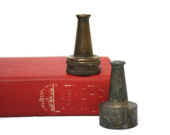 Two Vintage Hose Nozzles / Small Fire Hose Style Nozzles for Gardening Collecting or Display
