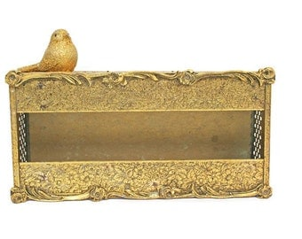 Vintage Gold Tissue Box /  Ornate Mid Century / Hollywood Regency / Ormalu Kleenex Dispenser for Bathroom Powder Room or Vanity Decor