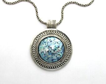 Winter Sale 925 Silver Ancient Rare Roman Glass Pendant Necklace