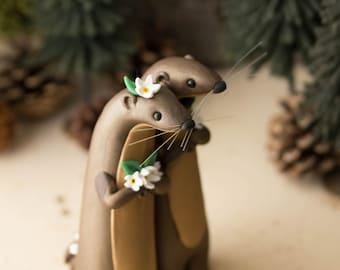 River Otter Wedding Cake Topper by Bonjour Poupette