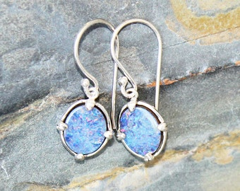 Fire Opal Earrings, Blue Earrings, Sterling Silver Earrings, Natural Stone Earrings, Filigree Earrings, Blue Stone Earrings, For Her