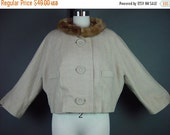 "40% OFF 50s Jacket Coat Oatmeal Mink Fur Collar Cropped Lane Bryant Tan Wheat Tweed Vintage 1950s Plus B 48"" 18W 1X"