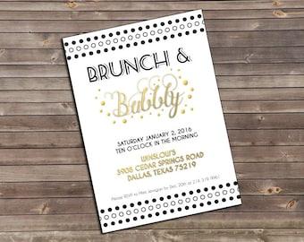 brunch and bubbly gatbsy wedding printable invitation