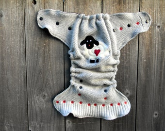 Upcycled Wool Nappy Cover Diaper Wrap Cloth Diaper Cover One Size Fits Most Light Gray With Baa Baa Sheep Applique/ Black