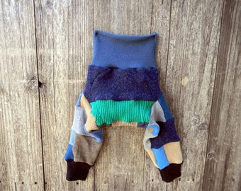 SMALL Upcycled  Wool Longies Soaker Cover Diaper Cover With Added Doubler Boy's Patchwork Scrappy  SMALL 3-6M