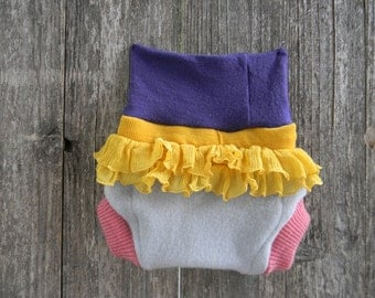 Upcycled Wool Soaker Cover Diaper Cover With Added Doubler Pink/ Light Blue/ Purple With Yellow Ruffles MEDIUM 6-12M  Kidsgogreen