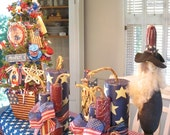 2 SETS Of Wooden Patriotic 4th Of July Wooden Fire Crackers Hand Painted By Denise