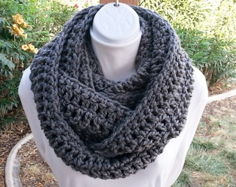 Discounted Charcoal Gray Infinity Scarf Loop Cowl, Extra Long Skinny Solid Grey Soft Narrow Handmade Crochet Knit Winter, Ready to Ship