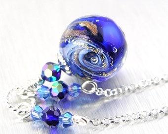 Blue Ocean Drop Necklace Sterling Silver Necklace 24k Gold Foil Blue Murano Glass Necklace Blue Pendant Necklace Cobalt Blue Necklace