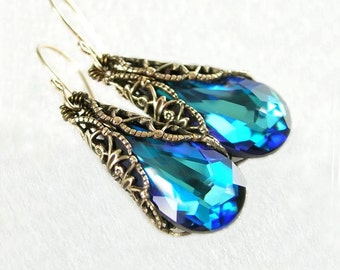 Ocean Blue Earrings Swarovski Crystal Earrings Antique Gold Brass Earrings Aqua Blue Drop Earrings Blue Crystal Earrings Victorian Jewelry
