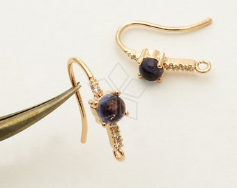 SI-686-RG / 2 Pcs - Iolite Precious Gemstone Hook Ear Wires, Artisan Design, Rose Gold Plated over 925 Sterling Silver / 16.5mm
