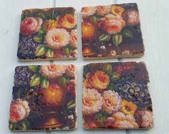 Antique Style Flower Coaster Set of 4 Tea Coffee Beer Coasters