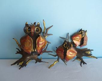 Vintage Metal Art Owl Trio - Wall Art - Brutalist Wall Art