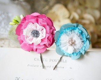 Floral Bobby Pins, Colorful Boho Hair Flowers, Flower Hair Pins, Rockabilly Hair Accessories, Pink Hair Flower, Fabric Flowers, Girl Gift