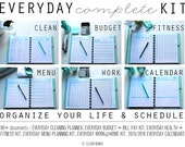 ORGANIZE - EVERYDAY COMPLETE Kit  - 90+ documents - aqua+black - standard and half size included- Instant Download