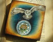 """Art Block handpainted - 4.5x4.5"""" - on Wood - Owl with dandelion - ORIGINAL woodpanel Painting collectible - white- owl- fine art"""