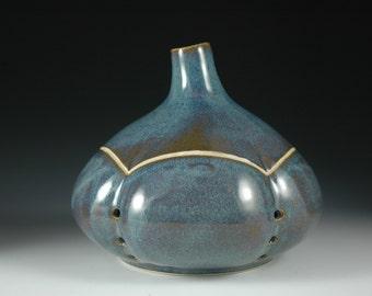 Light Blue Ceramic Garlic Keeper Stoneware Sculpture