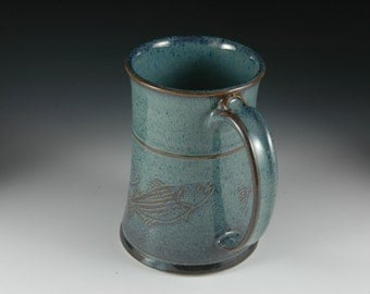 22 oz Ocean Blue Beer Stein with carved fish design, Large Coffee Mug, Stoneware Pottery by Douglas Bechler - mm0023