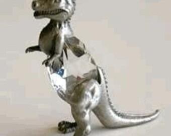 Crystal And Pewter Dinosaur Figurine