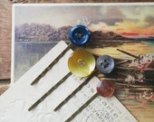 Button Bobby Pin Set, Hair Pins Made With Vintage Buttons in Warm Fal Colors, Granny CHic Hair Accessories for Women, Teen Girls