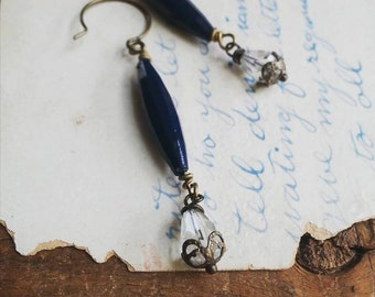Navy Blue Beaded Dangle Earrings, Long Bead Earrings, Vintage Style Earrings, Boho Jewelry for Women