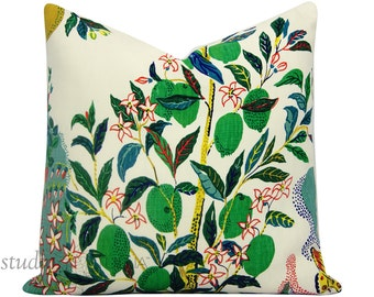 Schumacher Pillow Cover - Citrus Garden - Josef Frank -  20X20 - Featuring LIMES -  toss pillow - floral pillow - ready to ship