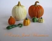 1:12 Fall Pumpkin, Gourds & White Pumpkin Lot A1 by IGMA Artisan Robin Brady-Boxwell - Crown Jewel Miniatures