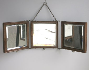 Antique Trifold Vanity Mirror with Oak Wood Frame, c. 1900 Hanging Three Part Folding Beveled Looking Glass for Shaving or Dressing Tri Fold
