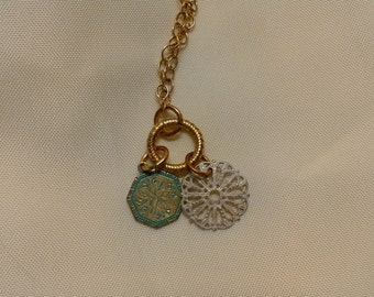 """17"""" Vintaj Natural Brass Necklace with Green and White Medallions"""