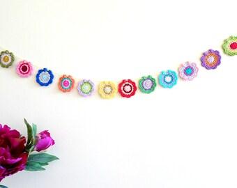 Crochet mandala garland - bohemian decor - colorful mandala garland - boho style decor - bohemian style garland - colorful mandala  ~31.5 in