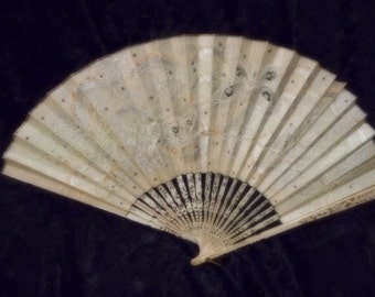 x Paper Fan Lace Embossed Great Condition vintage lady's handheld fan (FF100815-07)
