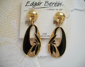 Edgar Berebi Clip Style Black Enamel Dangle Earrings