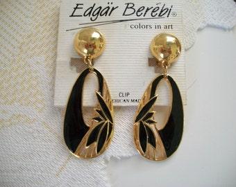 Edgar Berebi Clip Style Black Enamel Dangle Earrings