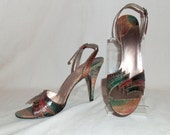 Vintage Gloria Vanderbilt Greens and Browns Snake Skin Sling Back High Heel Open Toes Sandals