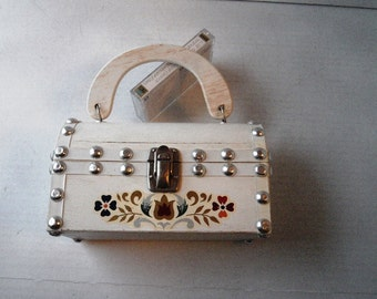1960s Encore Studded White Wood Casket Purse Made in Hong Kong