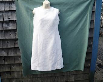 White Waffle Weave Sheath Dress Sleeveless 1960s Handmade for Costume