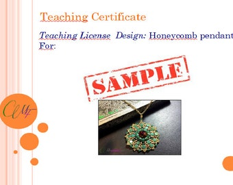 Teaching License. Certificate for teaching Margherita Fusco bead designs.