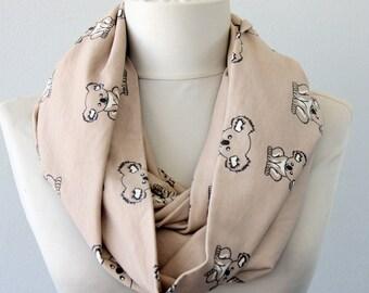 RESERVED FOR JAMES Koala scarf Australia bear scarf beige infinity scarf vegan fall scarf winter acccessories christmas gift idea