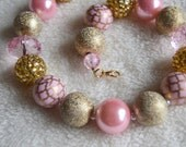 Light Pink and Gold Girls Beaded Bubblegum Necklace Photoprop