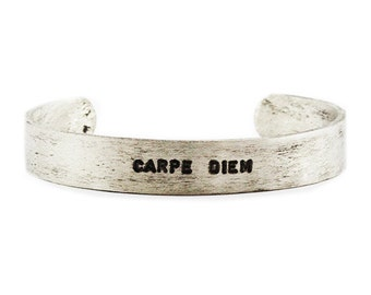 Mens Bracelet Personalized Antique Silver Custom Stamped Cuff