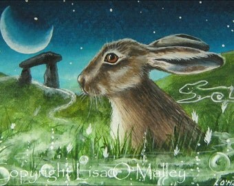 "ACEO Print ""Twilight Magic"" Hare.  Dolomen"