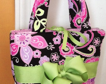 Ready to Ship Girl's Girls Purple Flowers Bag Handbag Purse Ribbon Bow