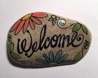 handpainted welcome rock art