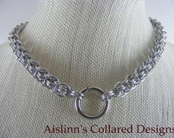 Enthrall Silver Chainmaille BDSM Gorean Slave Collar daywear collar