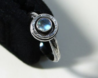 Size 7 Ring Handcrafted  Sterling Silver and Rainbow Moonstone Natural Stone Stackable Ring Contemporary Artisan Jewelry 397235205614