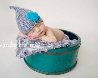 Grey Shabby Chic Newborn Girl Photo Prop Pixie Hat, Knit Newborn Girl Photo Prop Hat, Baby Girl Flower Hat, Newborn Bany Photo Props