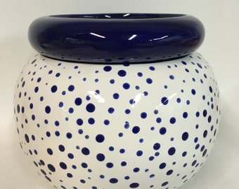 African Violet Pot 5 inch Navy Blue Dots