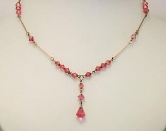 Vintage pink crystal necklace. Y necklace. Downton Abbey