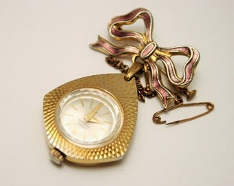 Vintage watch brooch. Bow brooch watch. Fero Feldmann. Swiss watch. 17 jewels
