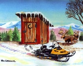 Outhouses and Snowmobiles Matted Art Print ( Funny art print of Snowmobiling in Winter,  Outhouse, Moose & Rabbits (FREE SHIPPING)
